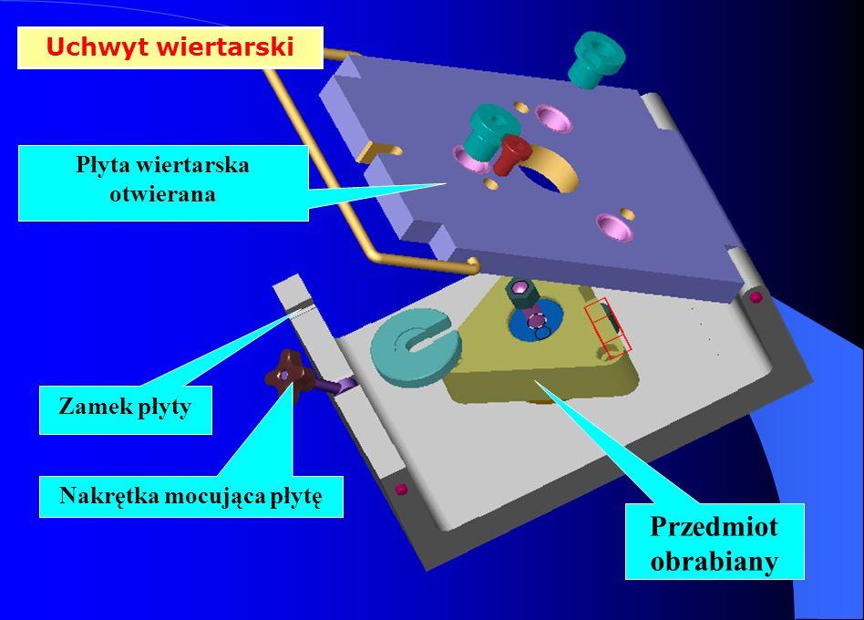 Uchwyt wiertarski Przedmiot obrabiany Płyta wiertarska otwierana Zamek płyty Nakrętka mocująca płytę