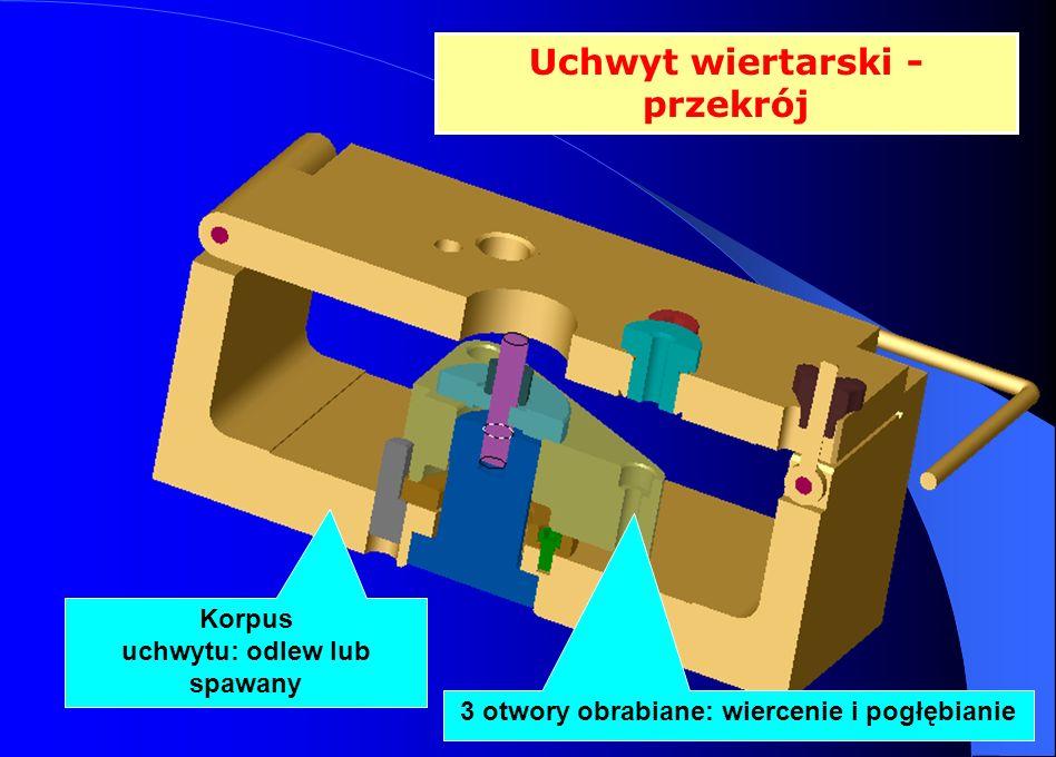 Uchwyt wiertarski - przekrój Korpus uchwytu: odlew lub spawany 3 otwory obrabiane: wiercenie i pogłębianie