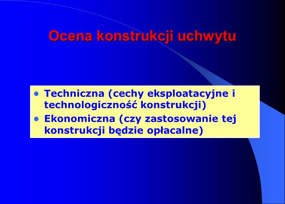 Ocena konstrukcji uchwytu Techniczna (cechy eksploatacyjne i technologiczność konstrukcji) Ekonomiczna (czy zastosowanie tej konstrukcji będzie opłaca
