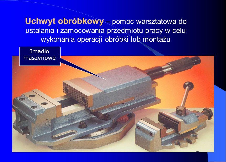 Uchwyt obróbkowy – pomoc warsztatowa do ustalania i zamocowania przedmiotu pracy w celu wykonania operacji obróbki lub montażu Imadło maszynowe