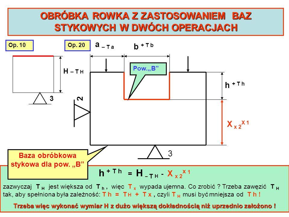 3 2 a – T a b + T b h + T h X x 2 X 1 OBRÓBKA ROWKA Z ZASTOSOWANIEM BAZ STYKOWYCH W DWÓCH OPERACJACH h + T h = H – T H - X x 2 x 1 zazwyczaj T H jest