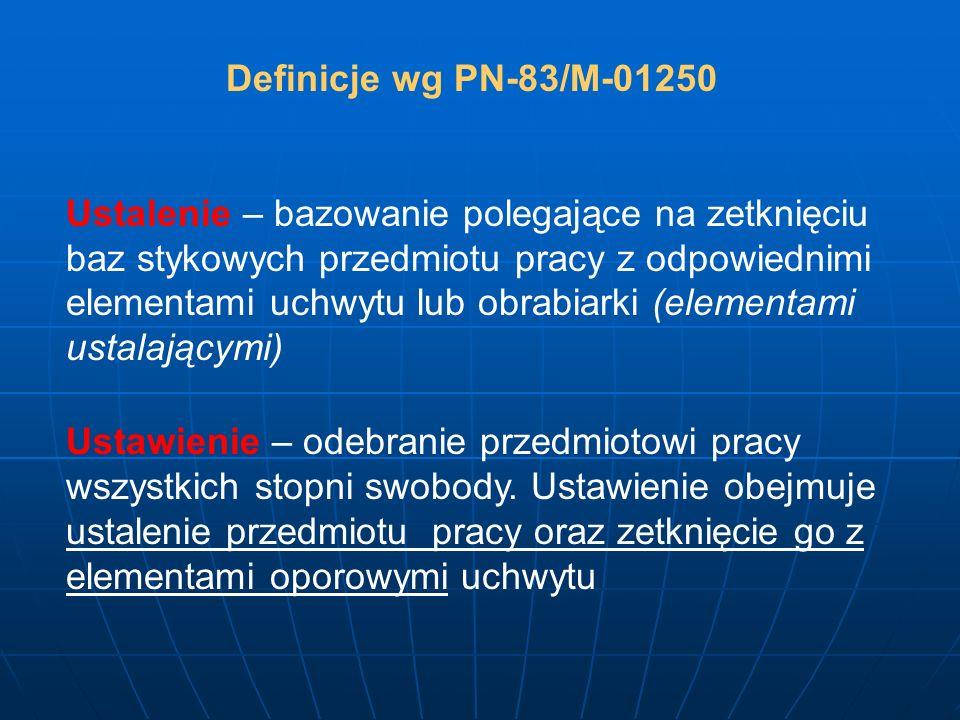Definicje wg PN-83/M-01250 Ustalenie – bazowanie polegające na zetknięciu baz stykowych przedmiotu pracy z odpowiednimi elementami uchwytu lub obrabia