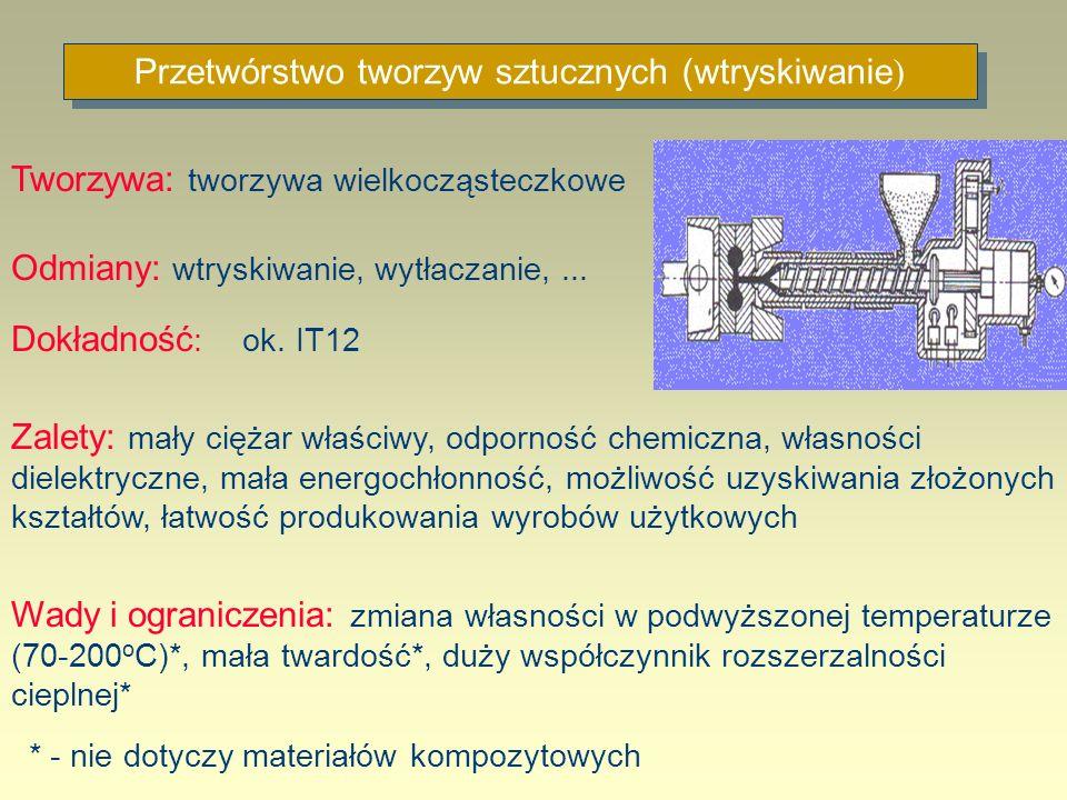 Przetwórstwo tworzyw sztucznych (wtryskiwanie ) Tworzywa: tworzywa wielkocząsteczkowe Odmiany: wtryskiwanie, wytłaczanie,... Dokładność : ok. IT12 Zal