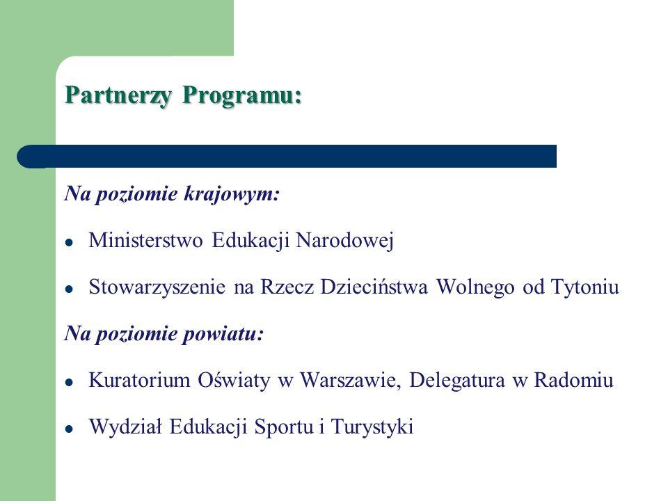 Partnerzy Programu: Na poziomie krajowym: Ministerstwo Edukacji Narodowej Stowarzyszenie na Rzecz Dzieciństwa Wolnego od Tytoniu Na poziomie powiatu: