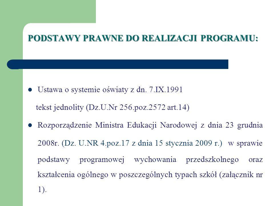 PODSTAWY PRAWNE DO REALIZACJI PROGRAMU: Ustawa o systemie oświaty z dn. 7.IX.1991 tekst jednolity (Dz.U.Nr 256.poz.2572 art.14) Rozporządzenie Ministr