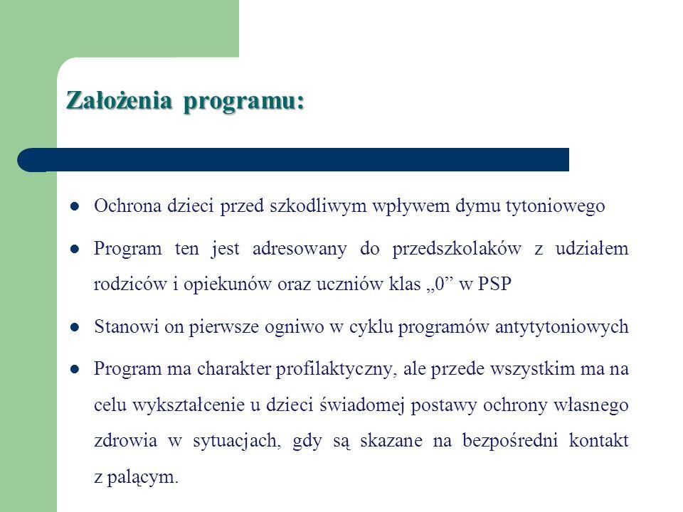 Założenia programu: Ochrona dzieci przed szkodliwym wpływem dymu tytoniowego Program ten jest adresowany do przedszkolaków z udziałem rodziców i opiek