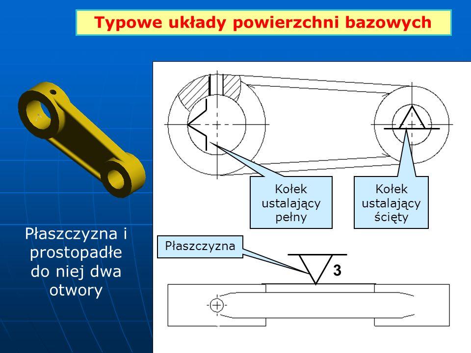Typowe układy powierzchni bazowych 3 Kołek ustalający pełny Kołek ustalający ścięty Płaszczyzna Płaszczyzna i prostopadłe do niej dwa otwory