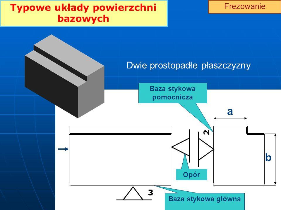 Typowe układy powierzchni bazowych Frezowanie Dwie prostopadłe płaszczyzny 3 2 Baza stykowa główna Baza stykowa pomocnicza a b Opór