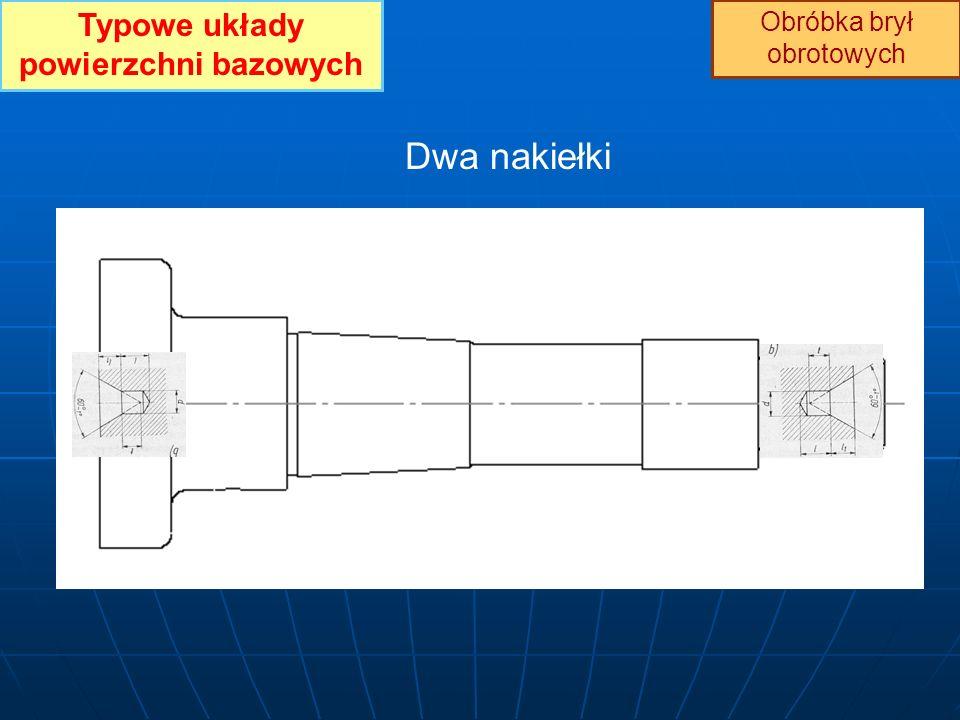 Typowe układy powierzchni bazowych Obróbka brył obrotowych Dwa nakiełki