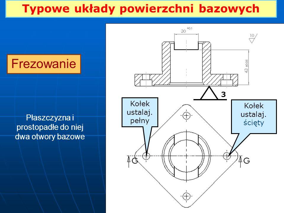 Typowe układy powierzchni bazowych Frezowanie Płaszczyzna i prostopadłe do niej dwa otwory bazowe 33 3 Kołek ustalaj. pełny Kołek ustalaj. ścięty