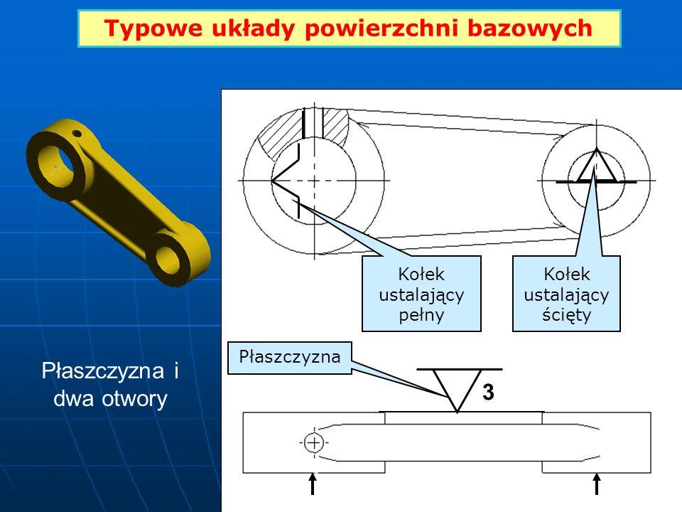 Typowe układy powierzchni bazowych 3 Kołek ustalający pełny Kołek ustalający ścięty Płaszczyzna Płaszczyzna i dwa otwory