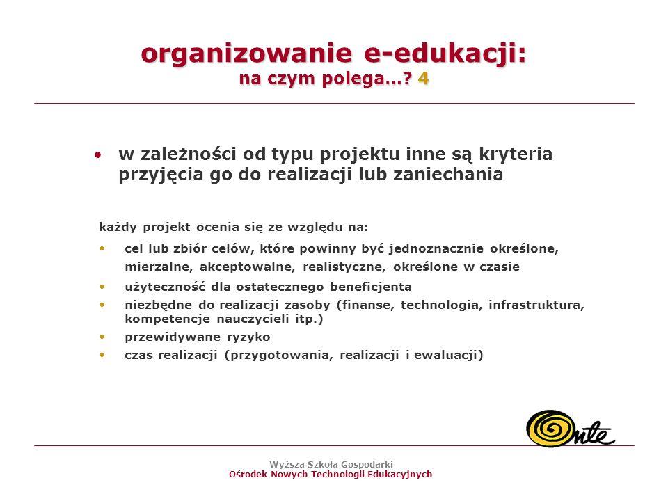 Wyższa Szkoła Gospodarki Ośrodek Nowych Technologii Edukacyjnych organizowanie e-edukacji: na czym polega….