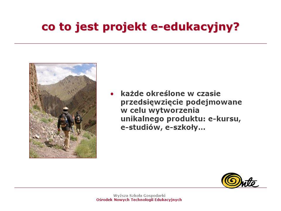 Wyższa Szkoła Gospodarki Ośrodek Nowych Technologii Edukacyjnych co to jest projekt e-edukacyjny.