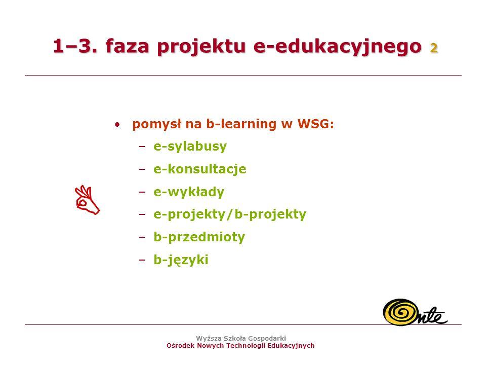 Wyższa Szkoła Gospodarki Ośrodek Nowych Technologii Edukacyjnych pomysł na b-learning w WSG: –e-sylabusy –e-konsultacje –e-wykłady –e-projekty/b-projekty –b-przedmioty –b-języki 1–3.