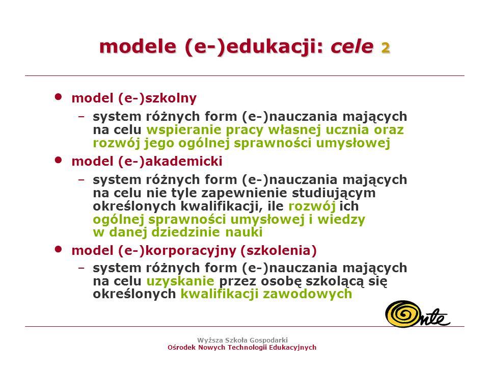 Wyższa Szkoła Gospodarki Ośrodek Nowych Technologii Edukacyjnych modele (e-)edukacji: cele 2 model (e-)szkolny –system różnych form (e-)nauczania mających na celu wspieranie pracy własnej ucznia oraz rozwój jego ogólnej sprawności umysłowej model (e-)akademicki –system różnych form (e-)nauczania mających na celu nie tyle zapewnienie studiującym określonych kwalifikacji, ile rozwój ich ogólnej sprawności umysłowej i wiedzy w danej dziedzinie nauki model (e-)korporacyjny (szkolenia) –system różnych form (e-)nauczania mających na celu uzyskanie przez osobę szkolącą się określonych kwalifikacji zawodowych