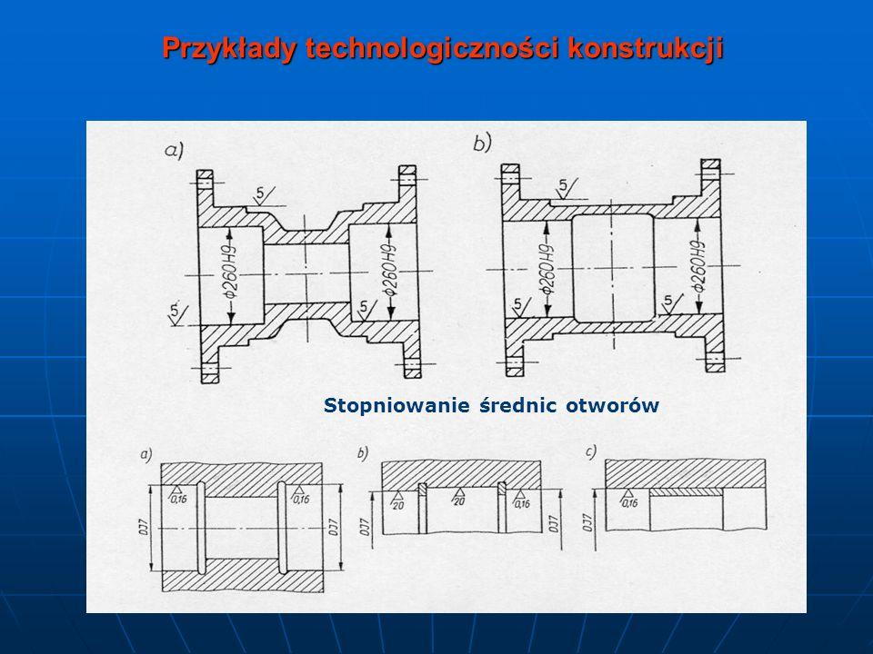 Przykłady technologiczności konstrukcji Stopniowanie średnic otworów