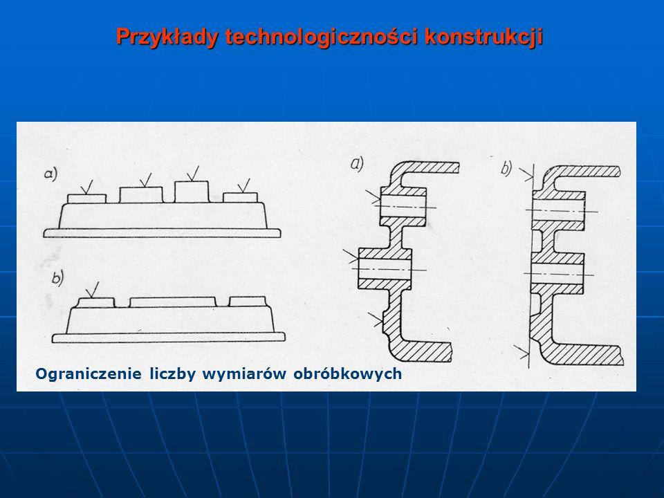 Przykłady technologiczności konstrukcji Kształtowanie otworów obrabianych