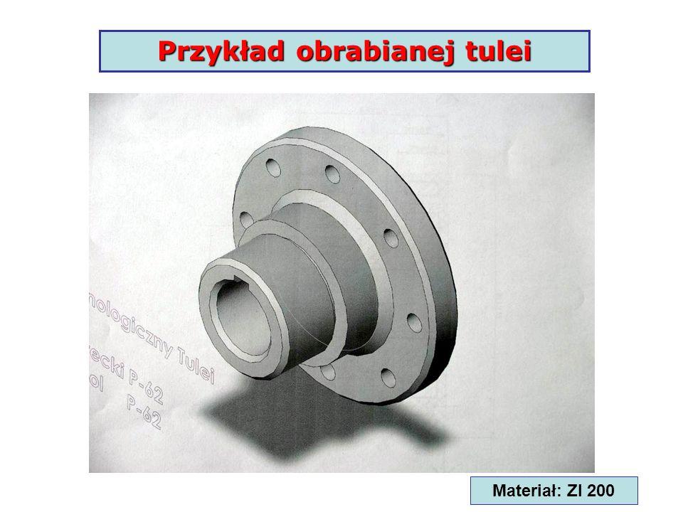 Przykład obrabianej tulei Rowek wpustowy Materiał: Zl 200
