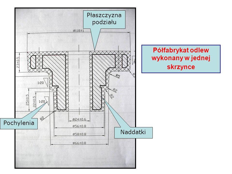 Półfabrykat odlew wykonany w jednej skrzynce Płaszczyzna podziału Pochylenia Naddatki