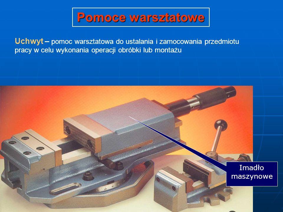 Pomoce warsztatowe Uchwyt – pomoc warsztatowa do ustalania i zamocowania przedmiotu pracy w celu wykonania operacji obróbki lub montażu Imadło maszyno