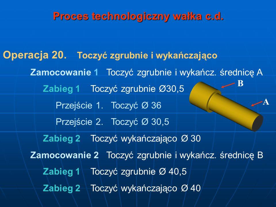 Proces technologiczny wałka c.d. Operacja 20. Toczyć zgrubnie i wykańczająco Zamocowanie 1 Toczyć zgrubnie i wykańcz. średnicę A Zabieg 1 Toczyć zgrub