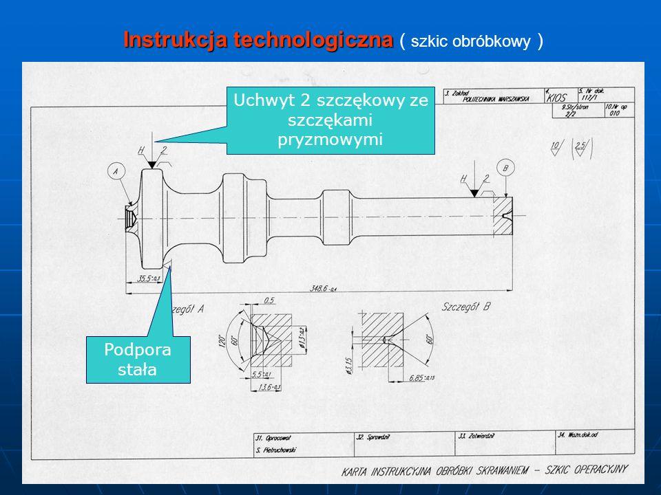 Instrukcja technologiczna Instrukcja technologiczna ( szkic obróbkowy ) Uchwyt 2 szczękowy ze szczękami pryzmowymi Podpora stała