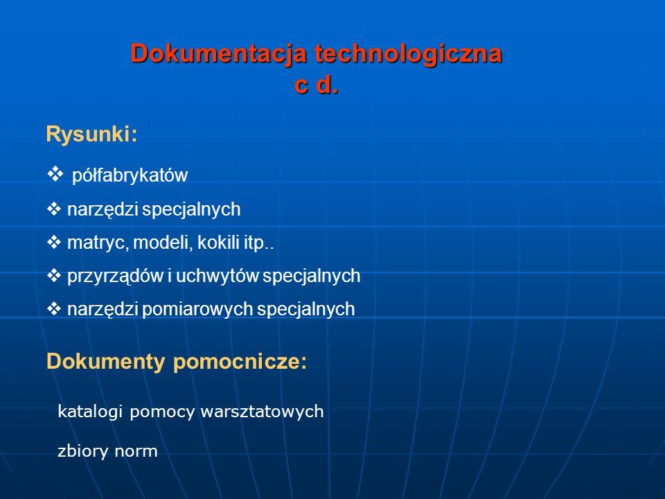 Dokumentacja technologiczna c d. Rysunki: półfabrykatów narzędzi specjalnych matryc, modeli, kokili itp.. przyrządów i uchwytów specjalnych narzędzi p