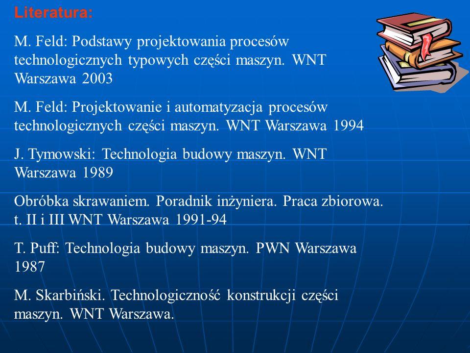 Literatura: M. Feld: Podstawy projektowania procesów technologicznych typowych części maszyn. WNT Warszawa 2003 M. Feld: Projektowanie i automatyzacja