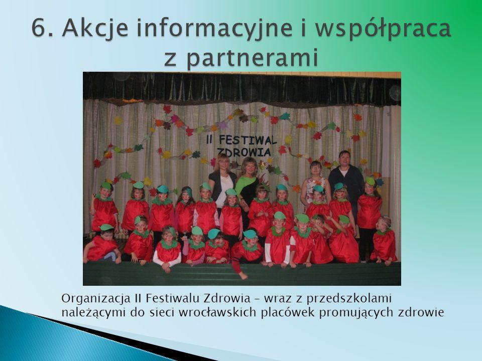 Organizacja II Festiwalu Zdrowia – wraz z przedszkolami należącymi do sieci wrocławskich placówek promujących zdrowie