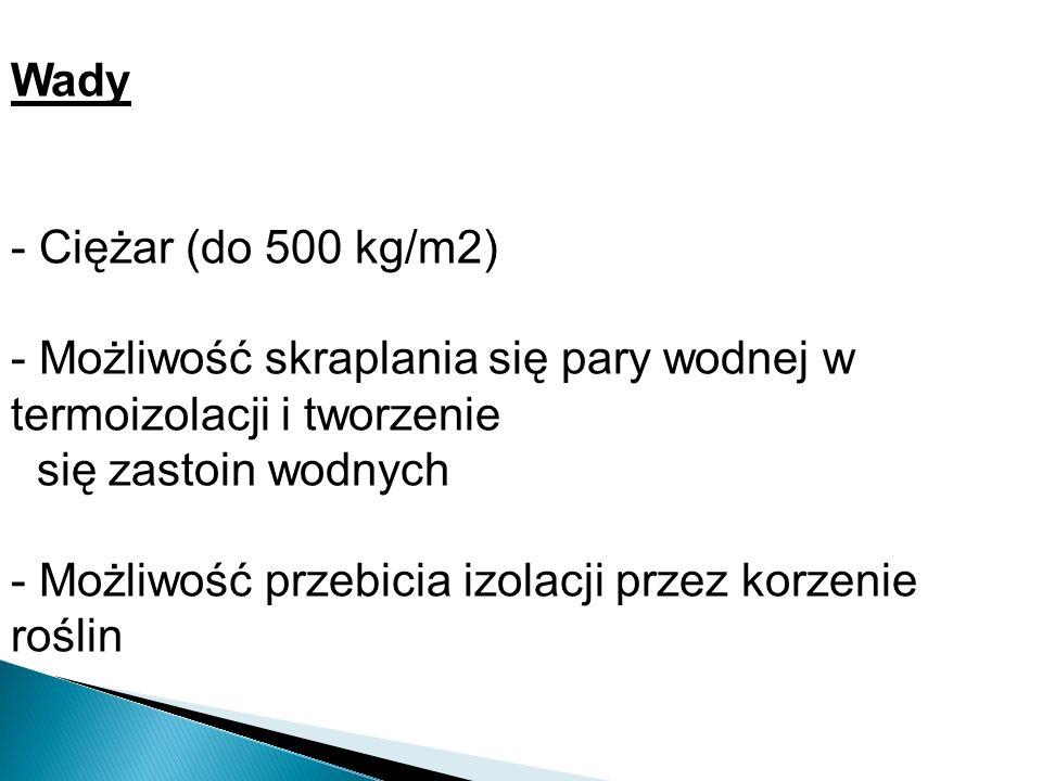 Wady - Ciężar (do 500 kg/m2) - Możliwość skraplania się pary wodnej w termoizolacji i tworzenie się zastoin wodnych - Możliwość przebicia izolacji prz