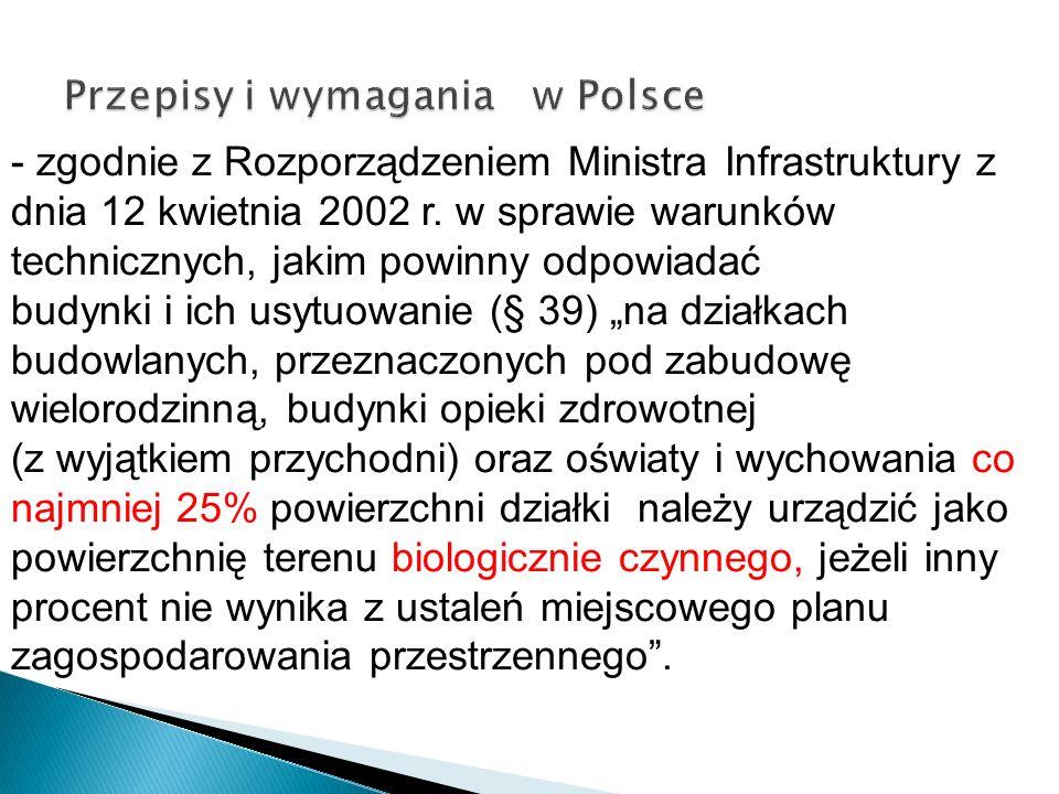 - zgodnie z Rozporządzeniem Ministra Infrastruktury z dnia 12 kwietnia 2002 r. w sprawie warunków technicznych, jakim powinny odpowiadać budynki i ich