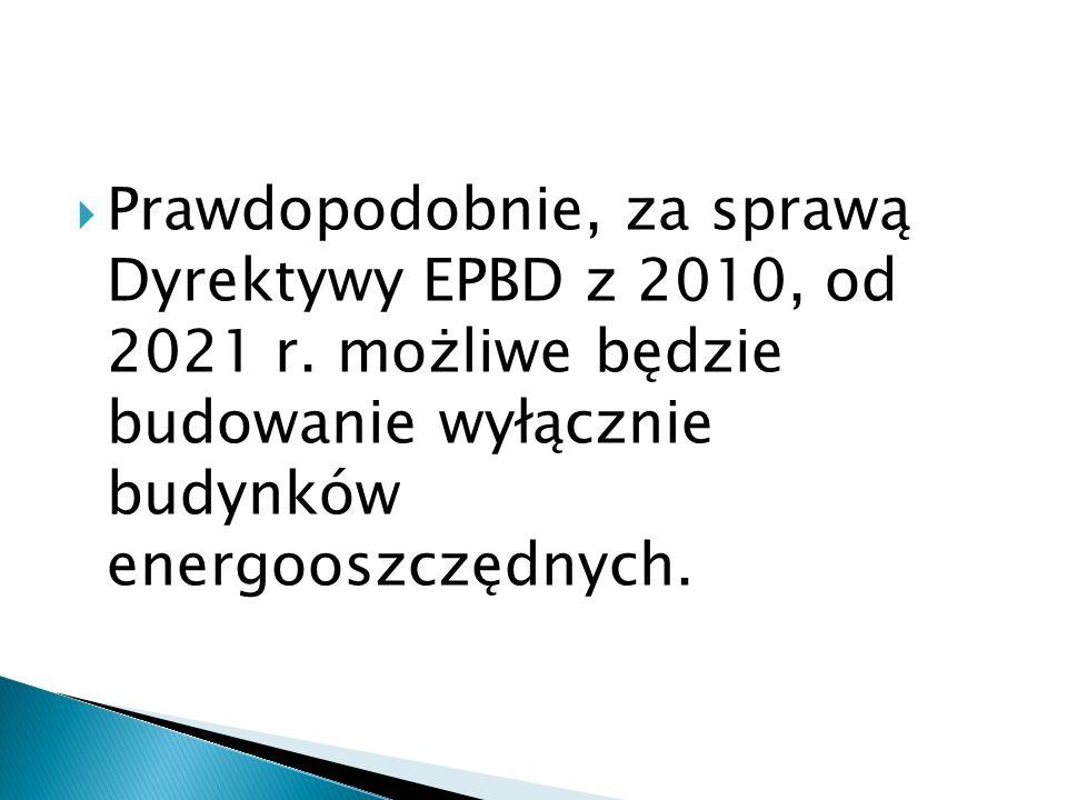 Prawdopodobnie, za sprawą Dyrektywy EPBD z 2010, od 2021 r. możliwe będzie budowanie wyłącznie budynków energooszczędnych.