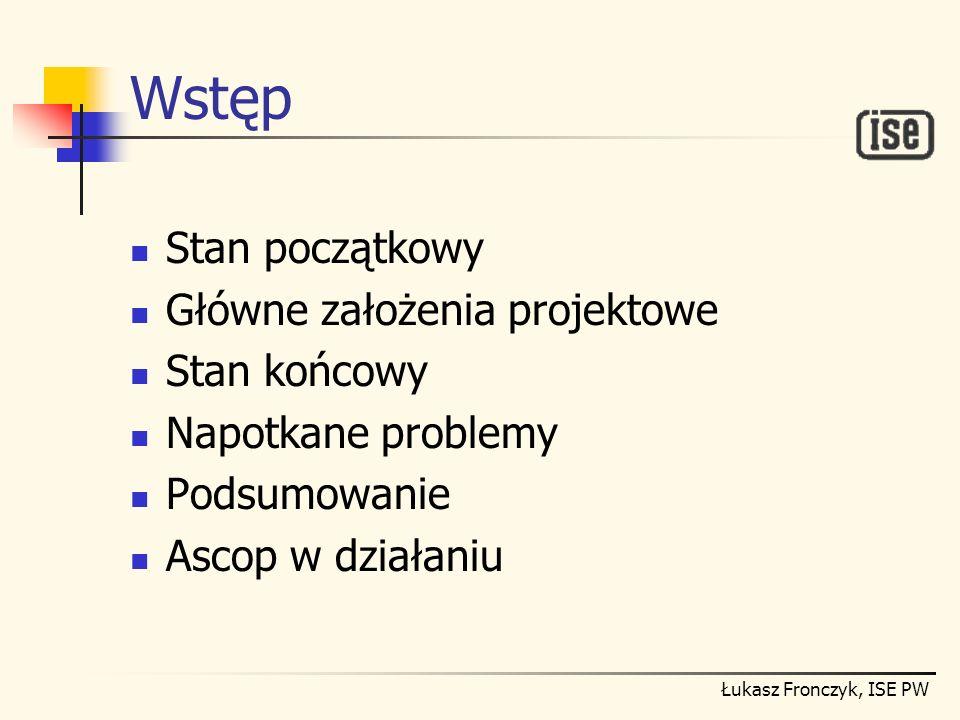 Łukasz Fronczyk, ISE PW Stan początkowy Istniejące oprogramowanie: wymaga do działania karty Hercules; zawiesza się; umożliwia przetwarzanie sygnału tylko w dziedzinie czasu.