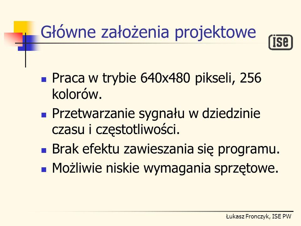 Łukasz Fronczyk, ISE PW Główne założenia projektowe Praca w trybie 640x480 pikseli, 256 kolorów. Przetwarzanie sygnału w dziedzinie czasu i częstotliw