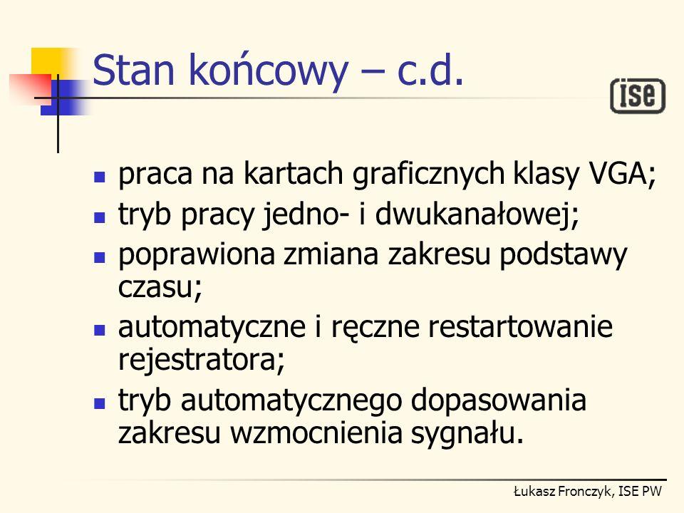 Łukasz Fronczyk, ISE PW Stan końcowy – c.d. praca na kartach graficznych klasy VGA; tryb pracy jedno- i dwukanałowej; poprawiona zmiana zakresu podsta