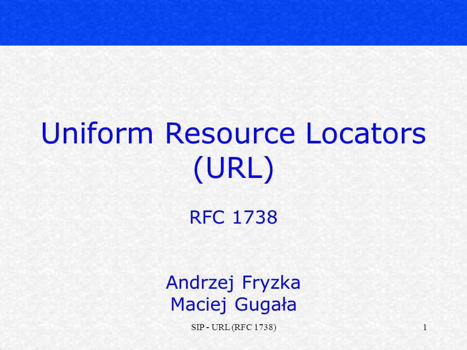 SIP - URL (RFC 1738)2 Wstęp Składnia URL Omówienie schematów URL (HTTP, MAILTO, itd.) Rejestracja nowych schematów Bezpieczeństwo Plan prezentacji