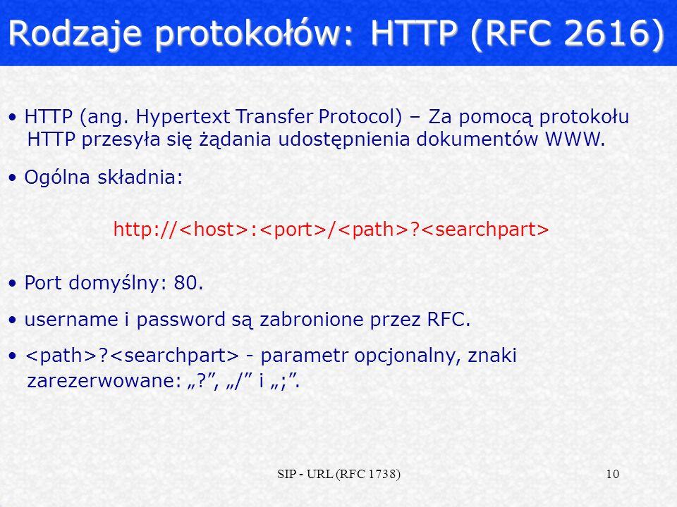 SIP - URL (RFC 1738)10 Rodzaje protokołów: HTTP (RFC 2616) HTTP (ang. Hypertext Transfer Protocol) – Za pomocą protokołu HTTP przesyła się żądania udo