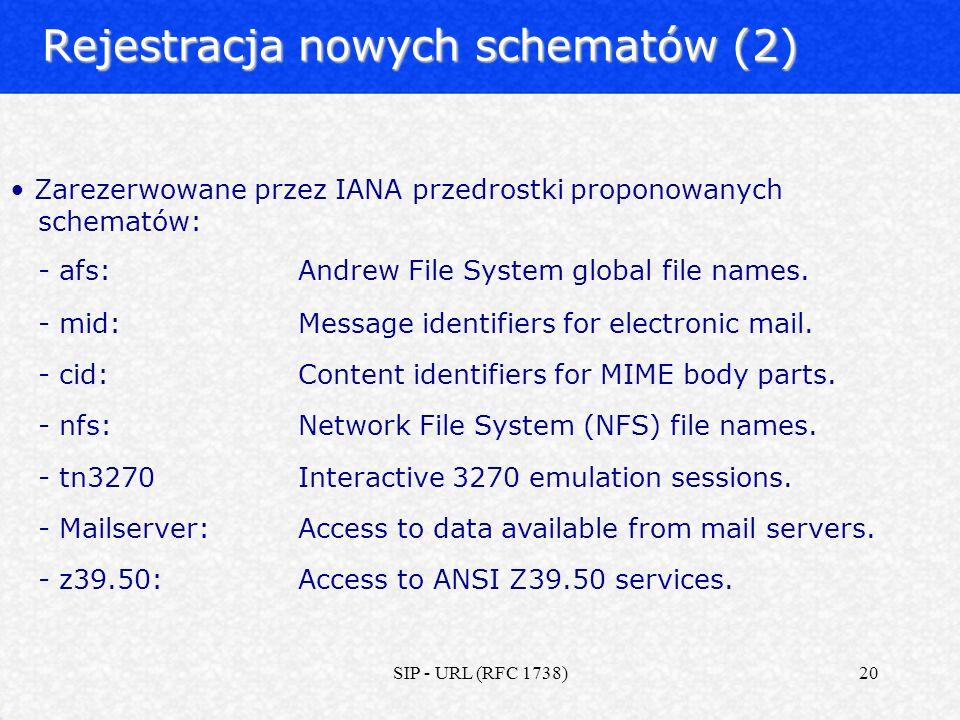 SIP - URL (RFC 1738)20 Rejestracja nowych schematów (2) Zarezerwowane przez IANA przedrostki proponowanych schematów: - afs: Andrew File System global