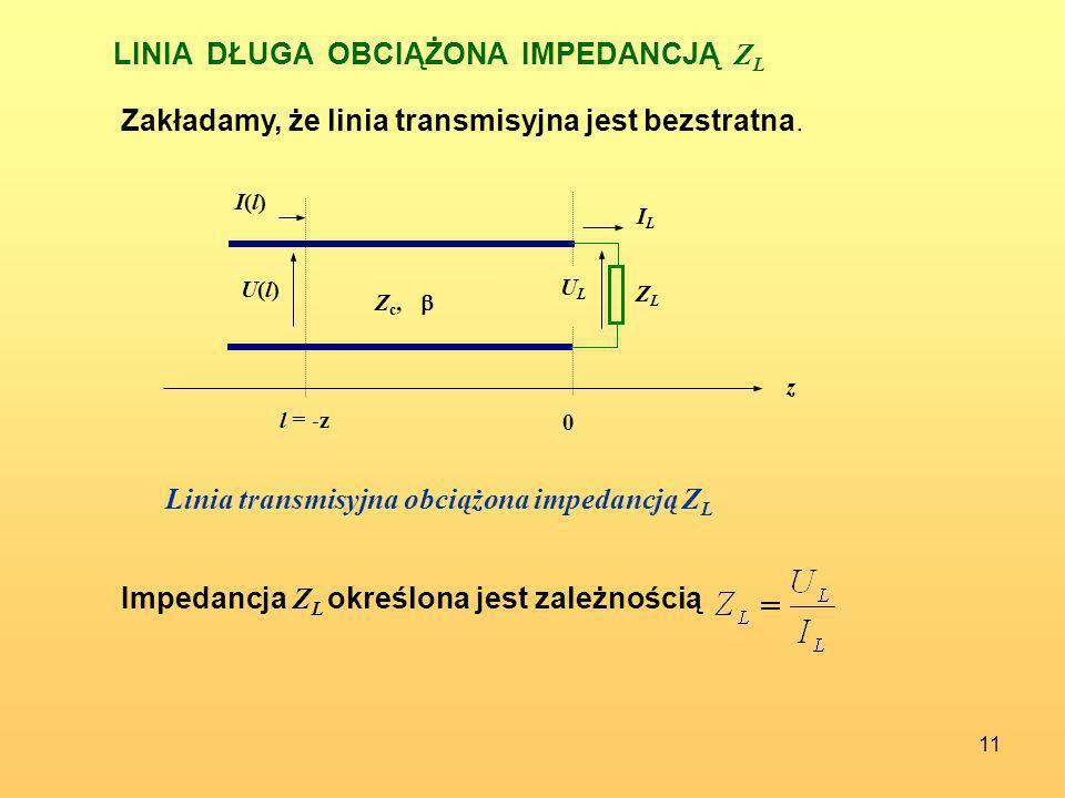 11 LINIA DŁUGA OBCIĄŻONA IMPEDANCJĄ Z L 0 U(l)U(l) I(l)I(l) z ULUL ZLZL ILIL Z c, l = -z Zakładamy, że linia transmisyjna jest bezstratna. Linia trans