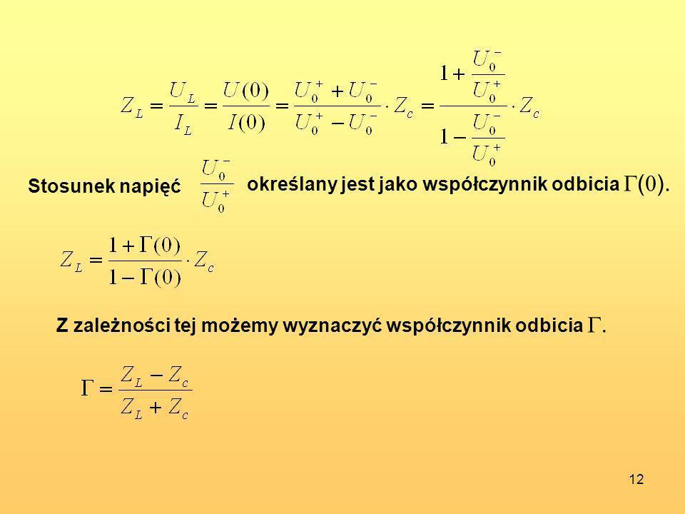 12 Stosunek napięć określany jest jako współczynnik odbicia ( 0 ). Z zależności tej możemy wyznaczyć współczynnik odbicia.