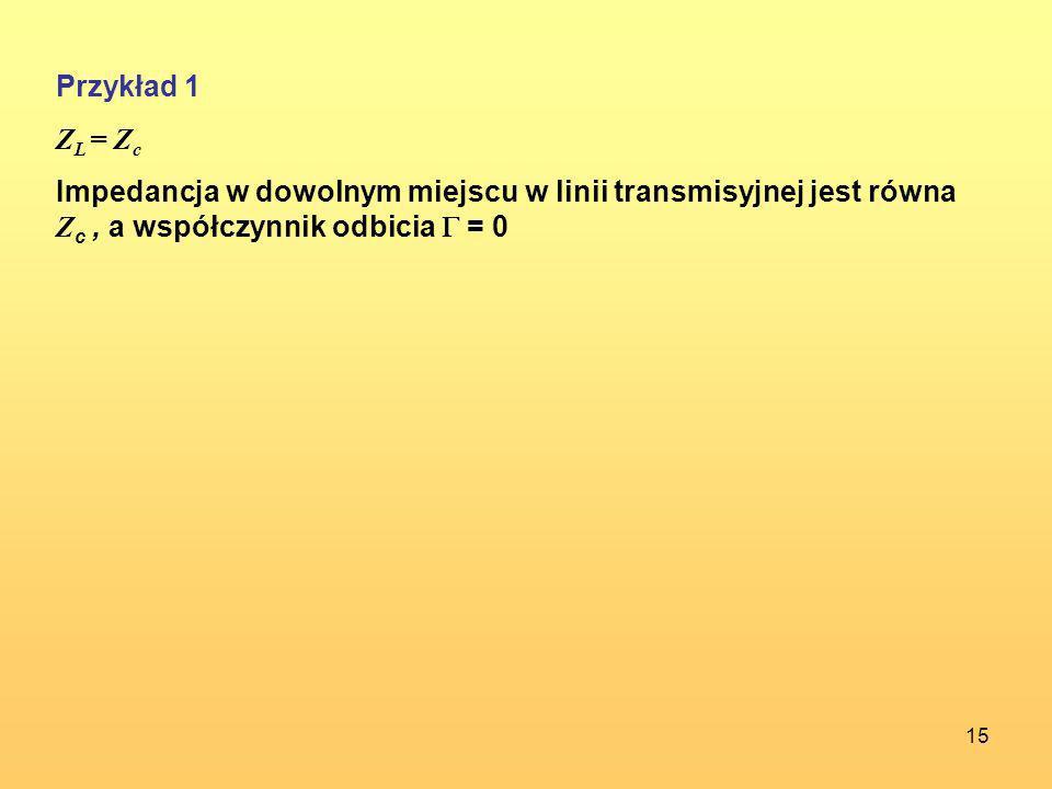 15 Przykład 1 Z L = Z c Impedancja w dowolnym miejscu w linii transmisyjnej jest równa Z c, a współczynnik odbicia = 0