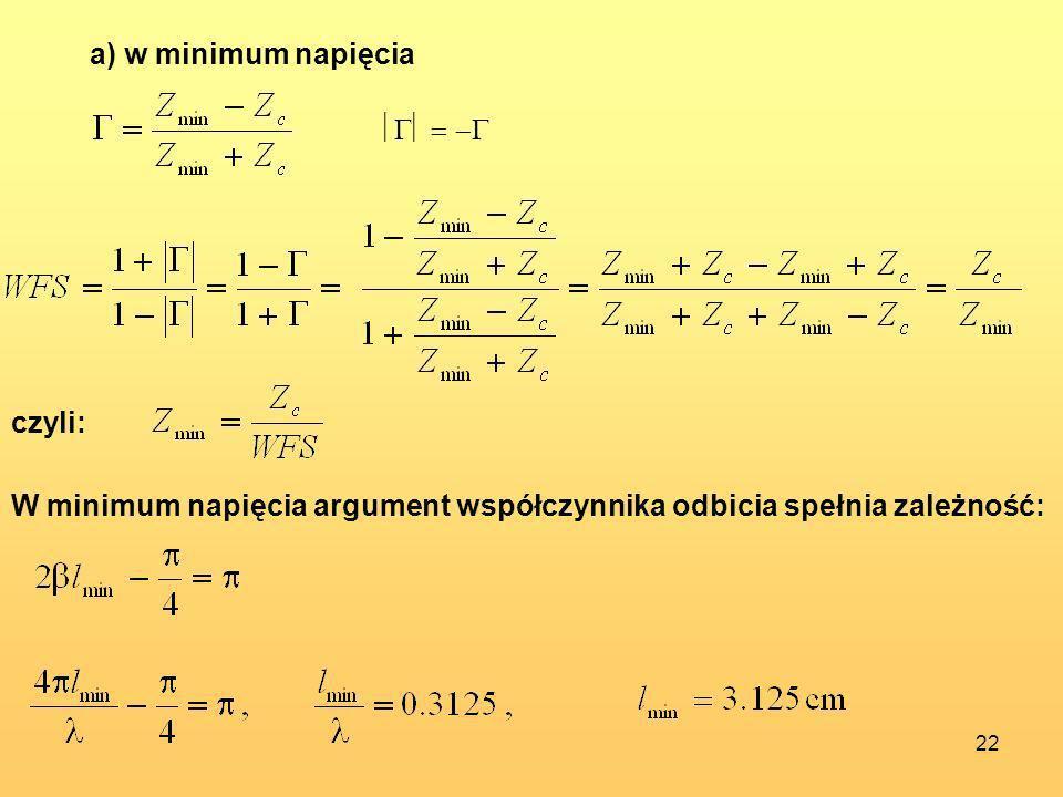 22 a) w minimum napięcia czyli: W minimum napięcia argument współczynnika odbicia spełnia zależność: