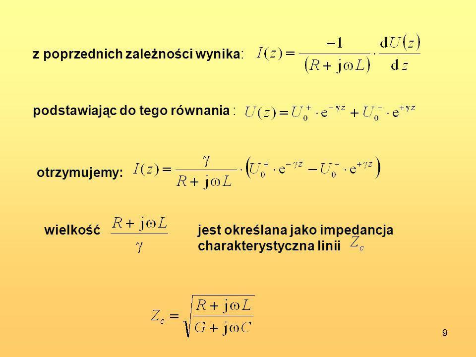 9 z poprzednich zależności wynika: podstawiając do tego równania : otrzymujemy: wielkośćjest określana jako impedancja charakterystyczna linii