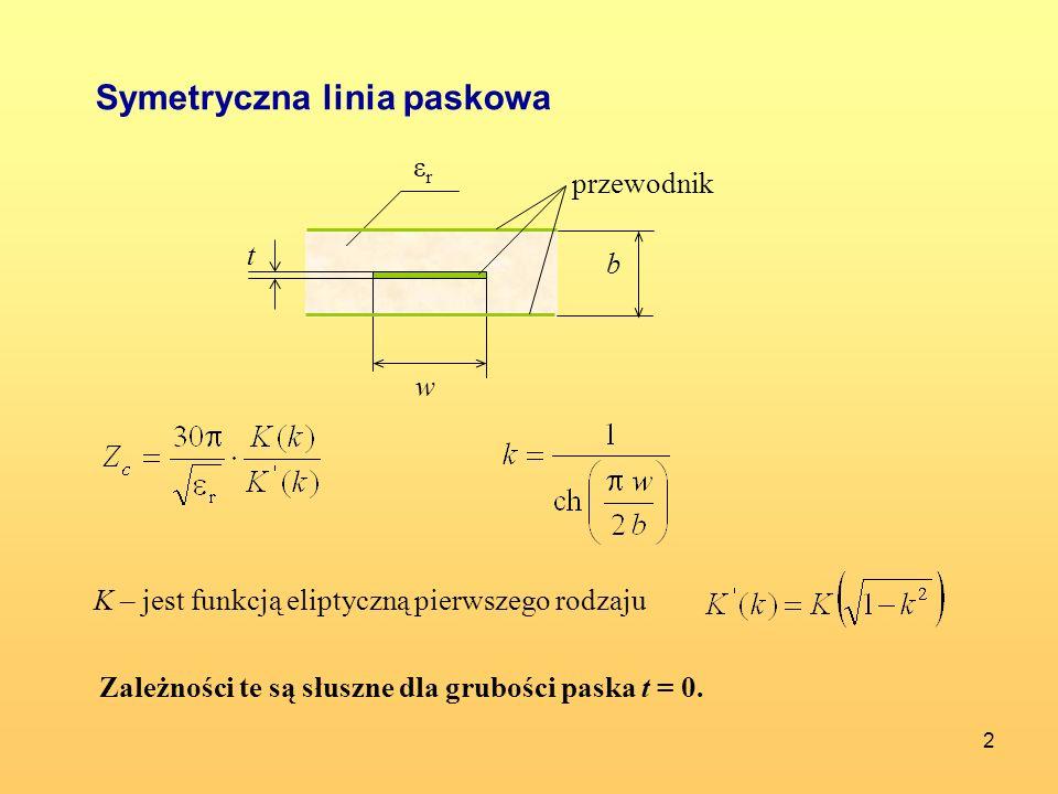 3 Zależność przybliżona na impedancję charakterystyczną linii : Zakres częstotliwości pracy tej linii jest od f = 0 do najniższej częstotliwości granicznej rodzaju falowodowego.