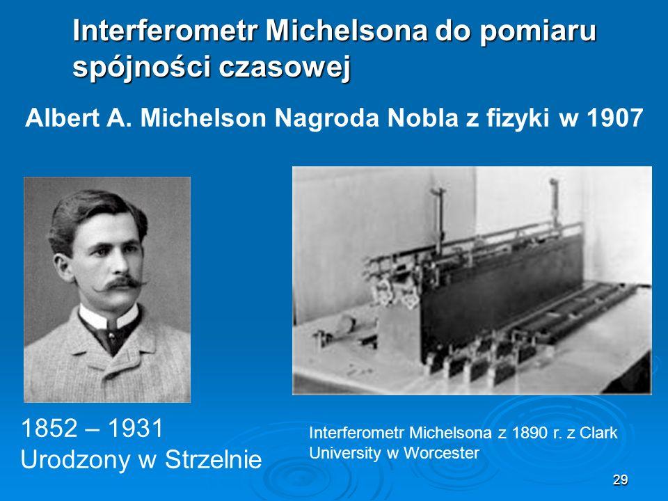 29 Interferometr Michelsona do pomiaru spójności czasowej Albert A.