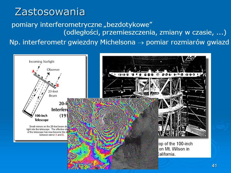41 Zastosowania pomiary interferometryczne bezdotykowe (odległości, przemieszczenia, zmiany w czasie,...) Np.