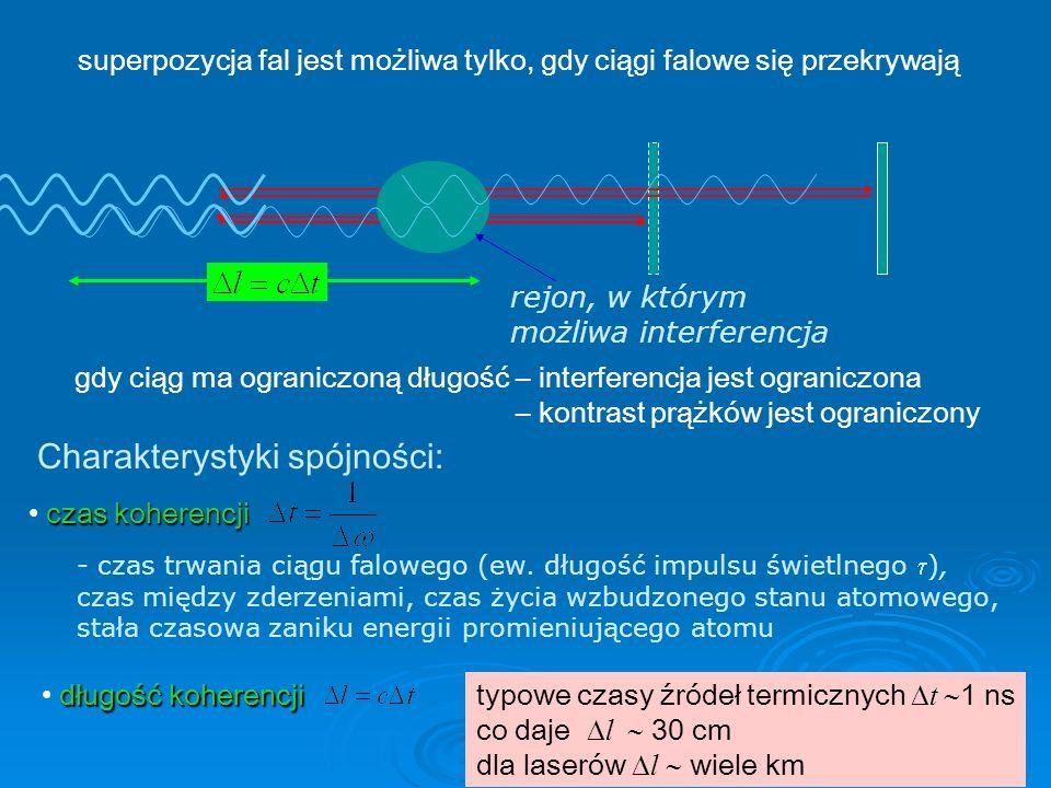 45 superpozycja fal jest możliwa tylko, gdy ciągi falowe się przekrywają gdy ciąg ma ograniczoną długość – interferencja jest ograniczona – kontrast prążków jest ograniczony Charakterystyki spójności: długość koherencji - czas trwania ciągu falowego (ew.