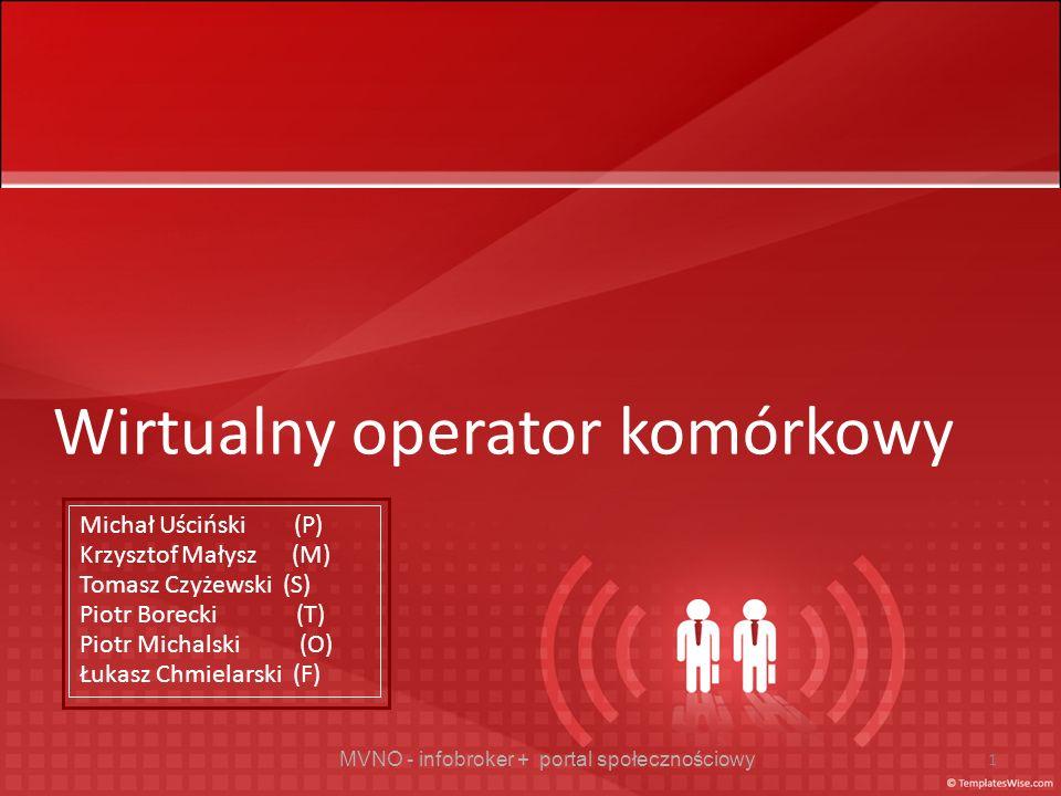MVNO - infobroker + portal społecznościowy 1 Wirtualny operator komórkowy Michał Uściński (P) Krzysztof Małysz (M) Tomasz Czyżewski (S) Piotr Borecki