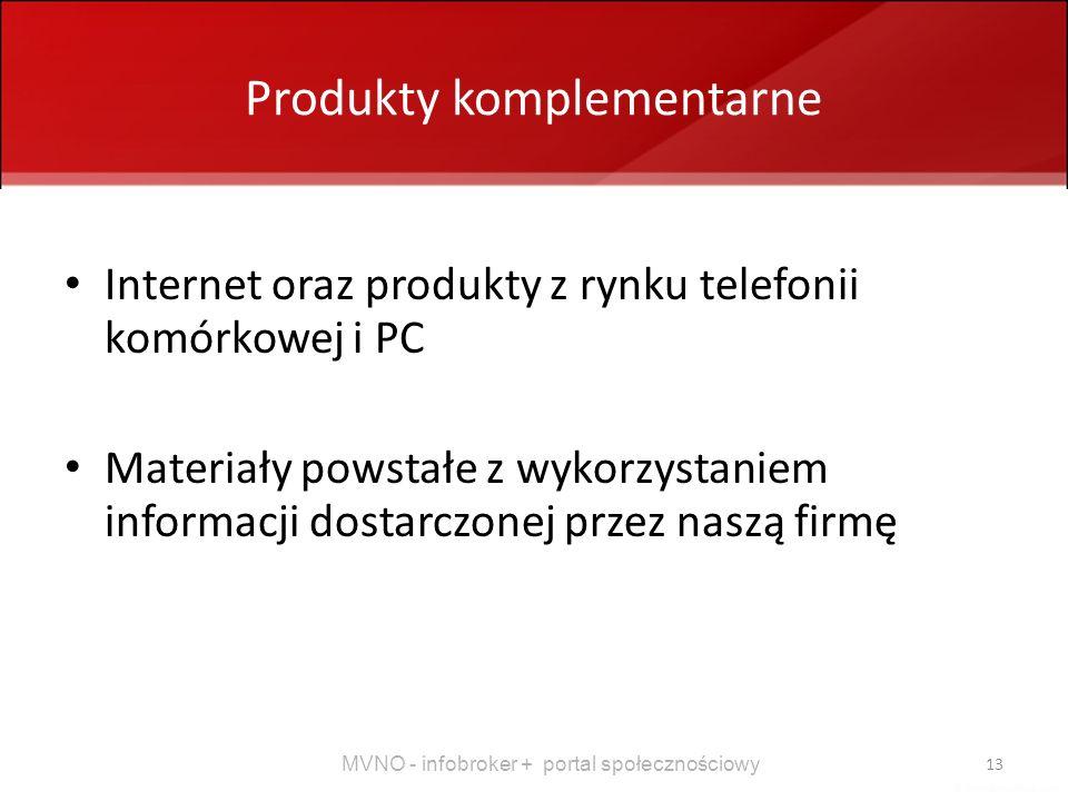 MVNO - infobroker + portal społecznościowy 13 Produkty komplementarne Internet oraz produkty z rynku telefonii komórkowej i PC Materiały powstałe z wy