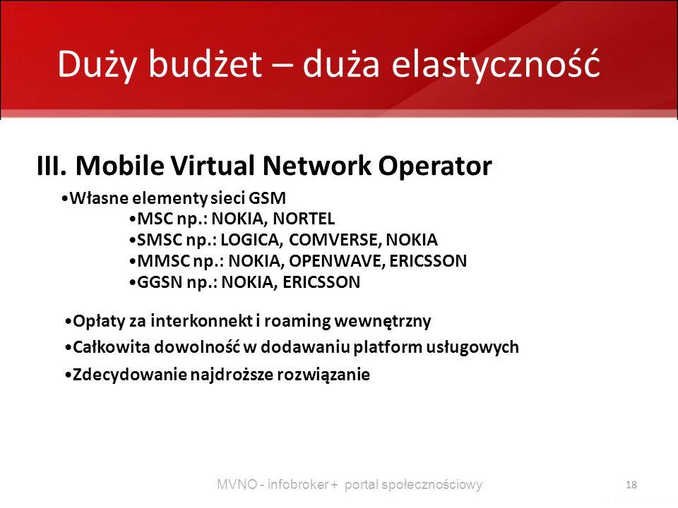 MVNO - infobroker + portal społecznościowy 18 Duży budżet – duża elastyczność III. Mobile Virtual Network Operator Własne elementy sieci GSM MSC np.: